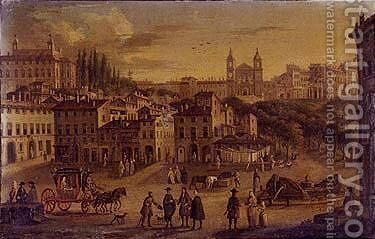 View of Rome with trinita dei Monti in distance by (after) Caspar Andriaans Van Wittel - Reproduction Oil Painting