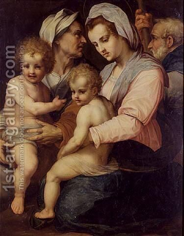The holly family with Saint Elisabeth and infant Saint John the babtist by (after) Andrea D' Agnolo - Reproduction Oil Painting