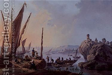 A view of the river Tagus, Portugal by (after) Jean-Baptiste Pillement - Reproduction Oil Painting
