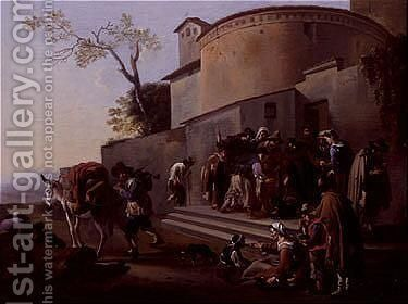 A franciscan monk distributing food to the poor by Jan Miel - Reproduction Oil Painting