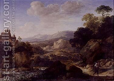 Mountainous landscape with travellers by Herman Saftleven - Reproduction Oil Painting