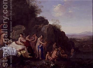 Diana and attendans in a landscape by Cornelis Van Poelenburgh - Reproduction Oil Painting