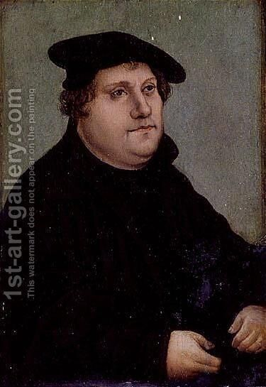 Portrait of Martin Luther 4 by (after) Lucas The Elder Cranach - Reproduction Oil Painting