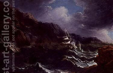 A storm on rocky cosat with ships in distress by Matthieu Van Plattenberg - Reproduction Oil Painting