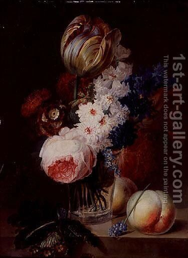 Still life of flowers in a glass vase by Johann Baptist Drechsler - Reproduction Oil Painting