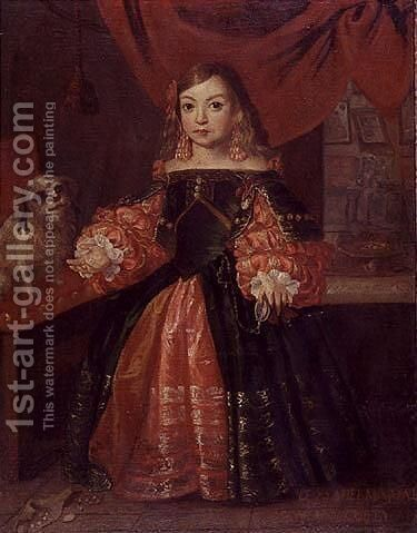 Portrait of Dona Isabella Maria as young girl by (after) Diego Rodriguez De Silva Y Velazquez - Reproduction Oil Painting