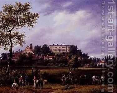 Landscape with peasants working in the fields with a town and a manor house by Guiseppe Canella - Reproduction Oil Painting
