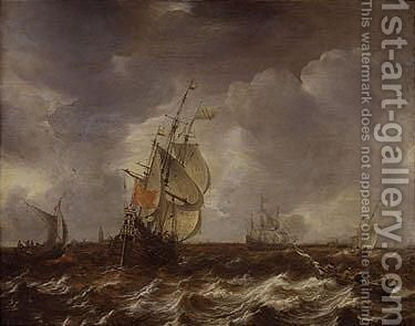 Warships and other small craft in an estuary by Jan Abrahamsz. Beerstraten - Reproduction Oil Painting
