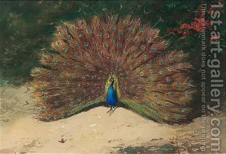 Peacock And Butterfly by Archibald Thorburn - Reproduction Oil Painting