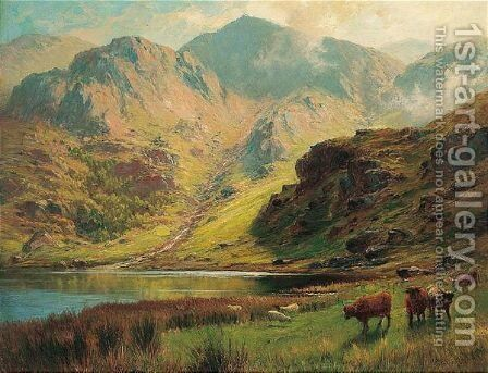 By The Loch by Charles Stuart - Reproduction Oil Painting