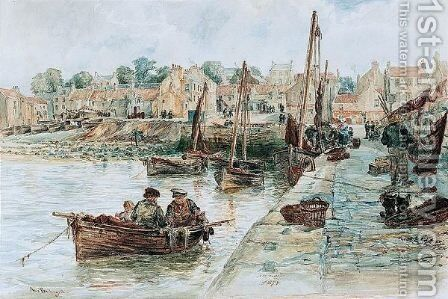 Newhaven Harbour by Alexander Ballingall - Reproduction Oil Painting