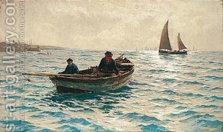 Fishing Lessons by Andrew Black - Reproduction Oil Painting