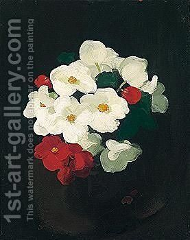 Red And White Christmas Roses by James Stuart Park - Reproduction Oil Painting