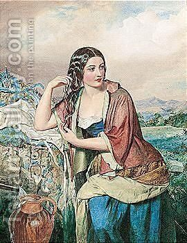 Portrait of a woman with a jug by (after) John Simmons - Reproduction Oil Painting