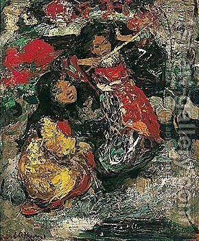 Japanese Girls by Edward Atkinson Hornel - Reproduction Oil Painting