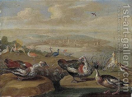 Ducks And Other Birds On The Seashore by Jan van Kessel - Reproduction Oil Painting