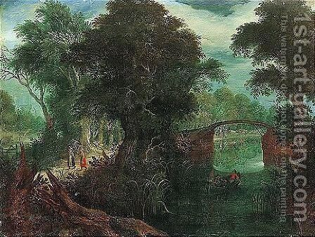 A Wooded River Landscape With Travellers Passing By A Bridge by Abraham Govaerts - Reproduction Oil Painting