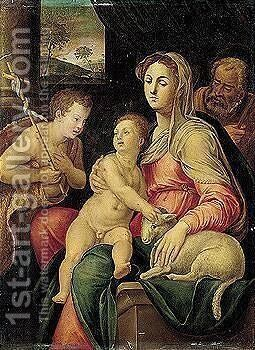 The holy family with the infant saint john the baptist by (after) Raffaellino Del Colle - Reproduction Oil Painting