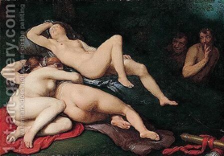 Diana Sleeping With Her Nymphs, Spied On By Satyrs by Cornelis Cornelisz Van Haarlem - Reproduction Oil Painting