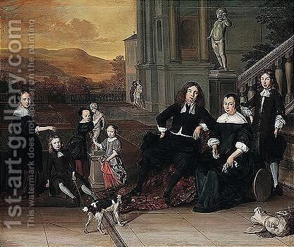 A Portrait Of A Family Group On A Terrace By An Elegant House, Possibly A Self-portrait With His Family by Eglon van der Neer - Reproduction Oil Painting