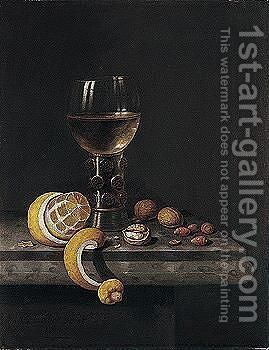 A Still Life Of A Roemer, Peeled Lemon, Walnuts And Hazelnuts Upon A Stone Ledge by Edwart Collier - Reproduction Oil Painting