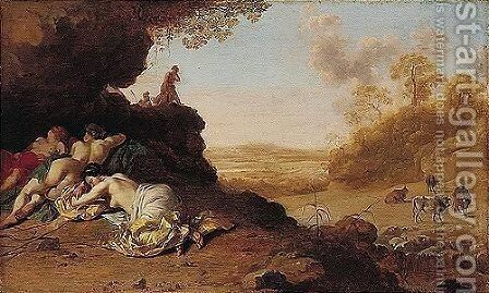 A Classical Roman Landscape With Nymphs Sleeping by Dirck van der B Lisse - Reproduction Oil Painting