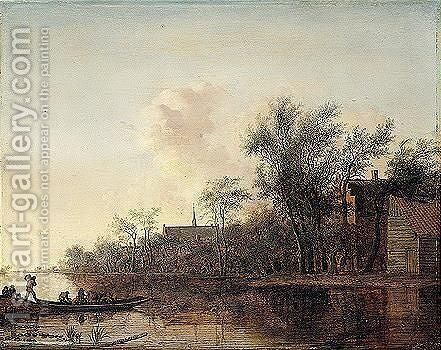 River Landscape With A Ferry Boat Near A Village by Anthony Jansz van der Croos - Reproduction Oil Painting