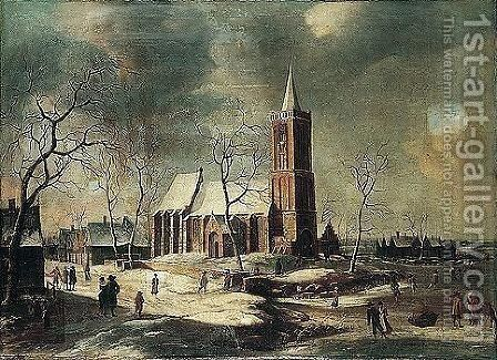 A Winter Landscape With Villagers Skating On A Frozen River Before A Church by Anthonie Beerstraaten - Reproduction Oil Painting
