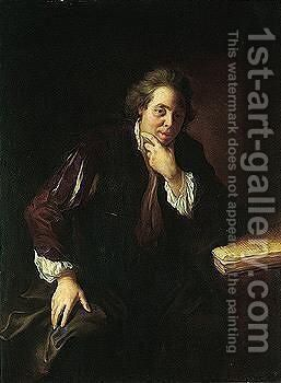 Portrait Of A Gentleman, Said To Be A Huguenot, Three-quarter Length, Seated Beside A Table by Jean-Alexis Grimou - Reproduction Oil Painting