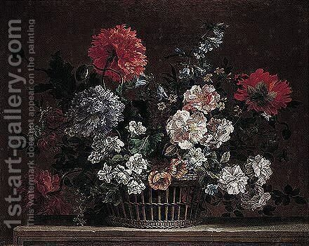 A Still Life Of Roses, Carnations, Delphiniums, Peonies And Lilies, Arranged In A Wicker Basket, Upon A Stone Ledge by Jean-Baptiste Monnoyer - Reproduction Oil Painting