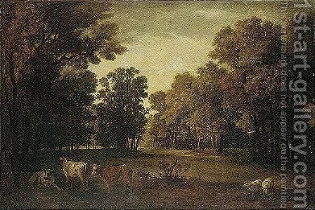 A Pastoral Landscape With Cattle And Sheep by Jean-Baptiste Oudry - Reproduction Oil Painting