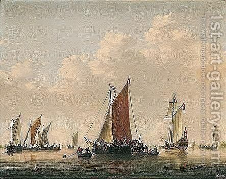 A Dutch Frigate And Light Shipping In A Calm, With Soldiers Boarding A Vessel by Jan van Os - Reproduction Oil Painting