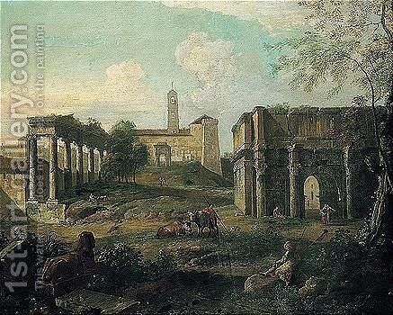 Rome, a capriccio of the forum with soldiers and drovers resting among classical ruins by (after) Giovanni Paolo Panini - Reproduction Oil Painting
