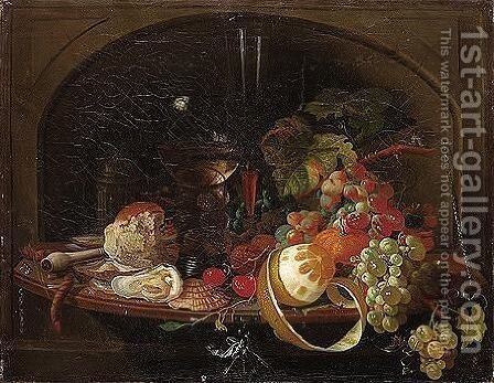 Still life of a peeled lemon, grapes, an orange, cherries and walnuts by (after) Abraham Mignon - Reproduction Oil Painting