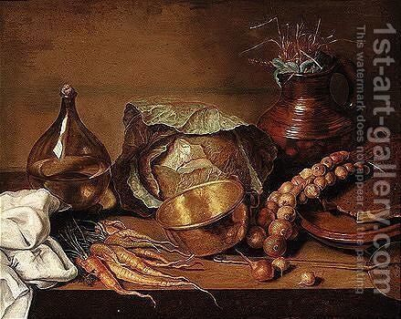 Still Life Of Cabbages, Carrots, Onions, Cooking Utensils And A Wine Bottle, Upon A Table Top by (after) Adriaen Van Der Kabel - Reproduction Oil Painting