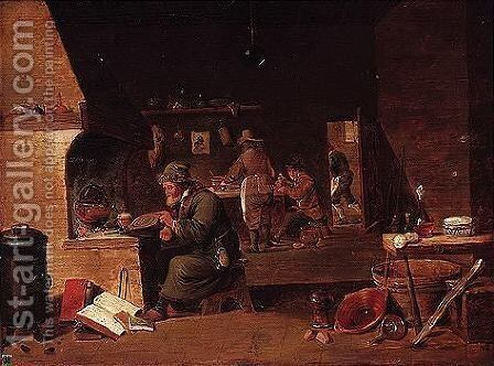 An alchemist in his studio by (after)  David The Younger Teniers - Reproduction Oil Painting