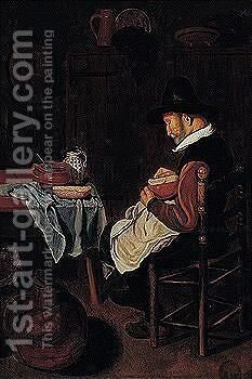 Kitchen interior with a man preparing a meal by (after) Quirin Gerritsz. Van Brekelenkam - Reproduction Oil Painting