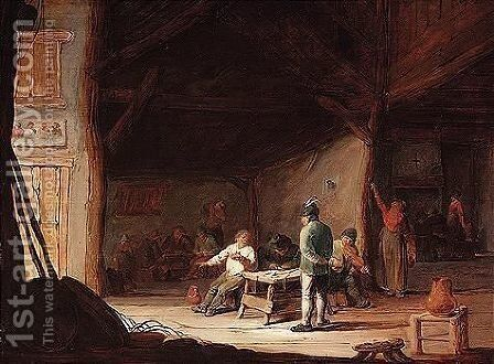 People in an interior by (after) Adriaen Jansz. Van Ostade - Reproduction Oil Painting