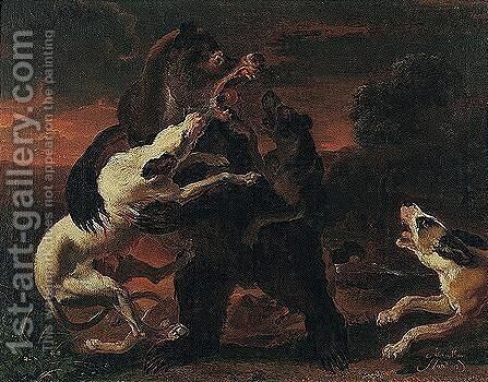 Hounds Attacking A Bear In A Landscape by Abraham Danielsz Hondius - Reproduction Oil Painting