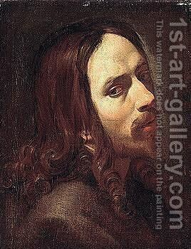 A bearded man, head and shoulders by (after) Simon Vouet - Reproduction Oil Painting