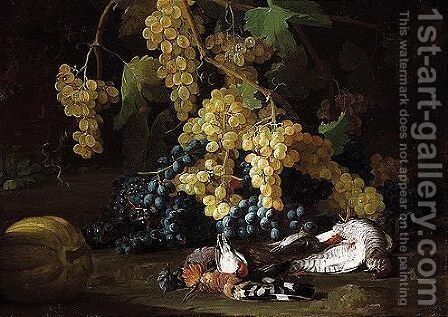 Still life of red and white grapes, together with a hoopoe by (after) Franz Werner Von Tamm - Reproduction Oil Painting