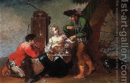 The Poultry Seller by Januarius Zick - Reproduction Oil Painting