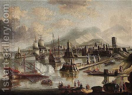 View of the harbour at Rhodes by (after) Bonaventura Peeters - Reproduction Oil Painting