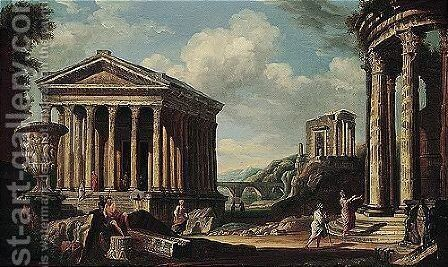 Capriccio of classical ruins, with the borghese vase, the maison carree at nimes, the pont du gard near Nimes by (after) Giovanni Paolo Panini - Reproduction Oil Painting