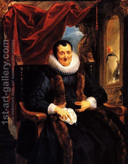Portrait Of Magdalena De Cuyper, Seated Three-quarter Length In Black, With White Lace Cuffs And Ruff, And A Fur-trimmed Coat, Before An Opening Partly Concealed By A Draped Red Cloth by Jacob Jordaens - Reproduction Oil Painting