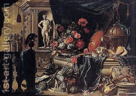 A Still Life Of Flowers With A Globe, Musical Instruments And A Parrot, All Set Within Architectural Surroundings by Michel Bouillon - Reproduction Oil Painting