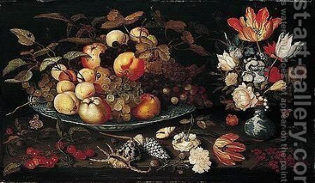 A Still Life Of Apples, Grapes, And Peaches In A Blue-and-white Porcelain Bowl, A Bouquet Of Tulips, Roses, Irises, Lily-of-the-valley And Other Flowers In A Blue-and-white Porcelain Vase, Both On A Stone Ledge by Balthasar Van Der Ast - Reproduction Oil Painting