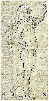 Study Of A Naked Putto With A Cloak Trailing Over His Shoulders by Girolamo Francesco Maria Mazzola (Parmigianino) - Reproduction Oil Painting