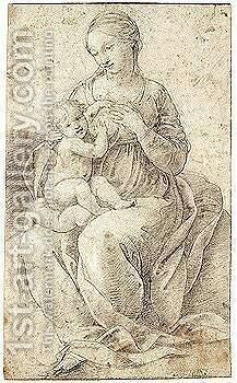 The madonna and child 2 by (after) Raphael (Raffaello Sanzio of Urbino) - Reproduction Oil Painting