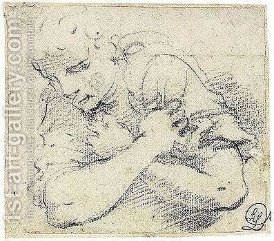 Study Of An Angel, With Arms Crossed by Annibale Carracci - Reproduction Oil Painting